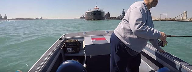 freighter ship fishing boat near miss detroit river