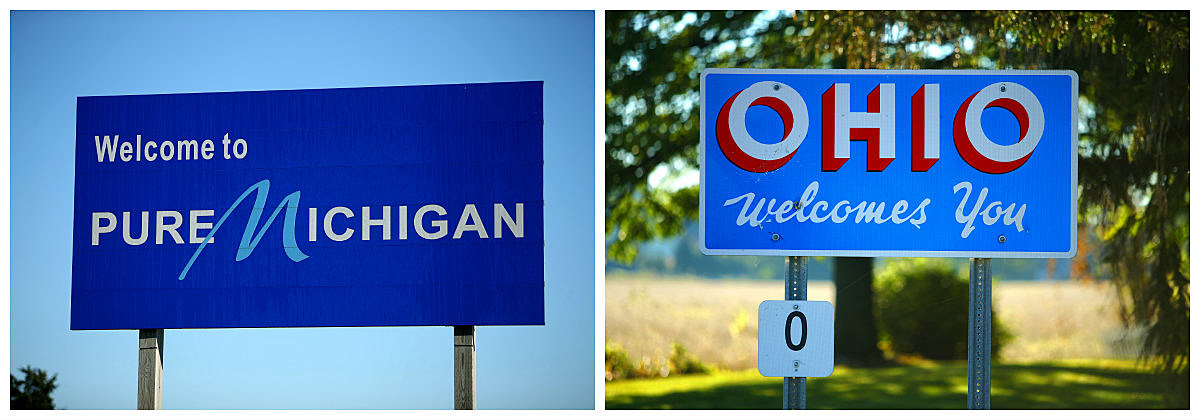 michigan - ohio welcome signs